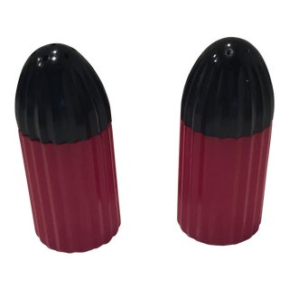 Vintage Black and Red Bakelite Salt and Peppers