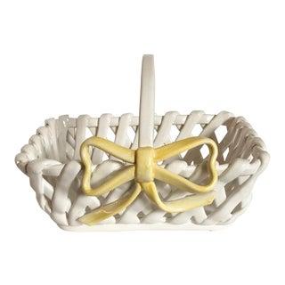 Portuguese Ceramic Handled Basket For Sale
