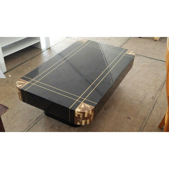 Mid-Century Black Lacquer Inlaid Brass and Tessellated Horn Coffee Table For Sale - Image 4 of 10