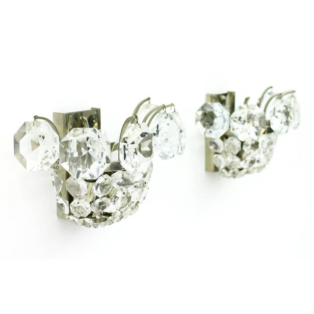 Mid-Century Modern One of Four Wall Sconces by Bakalowits Crystal and Nickel, Austria, Circa 1960s For Sale - Image 3 of 8