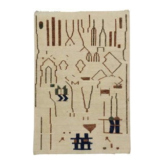 Moroccan Rug with Brutalist Style and High Low Pile, Two Layer Barjasteh Rug For Sale