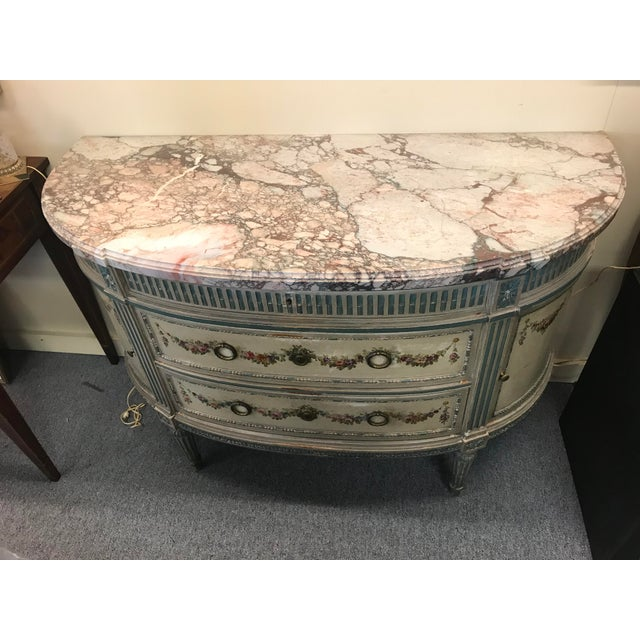 French 19th Century French Marble Top Demilune Chest For Sale - Image 3 of 10