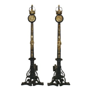 Early 20th Century Andirons With Scrollwork Supports and Bronze Figural and Torch Motifs - a Pair For Sale