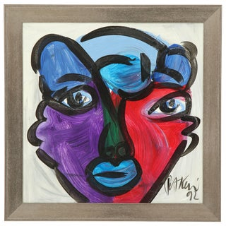 1990s Abstract Portrait Painting by Peter Keil For Sale
