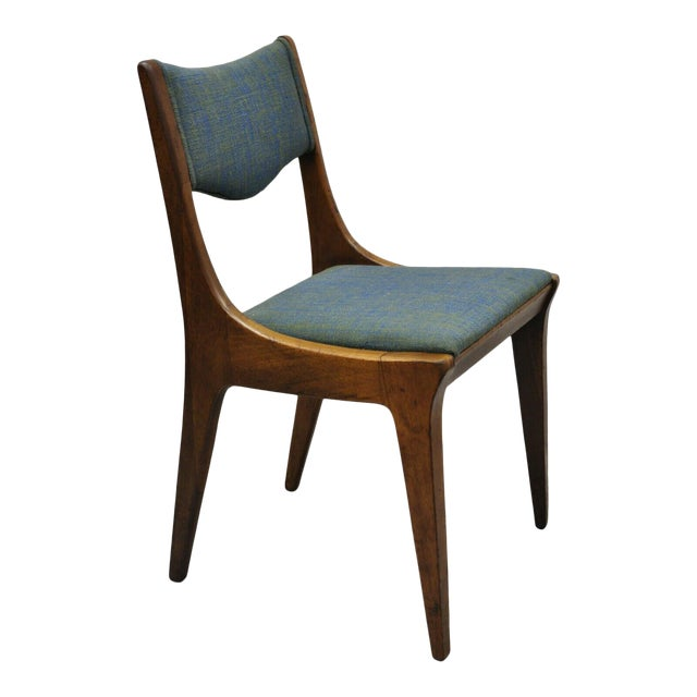 Drexel Dateline John Van Koert Walnut Mid Century Modern Dining Side Chair (B) For Sale