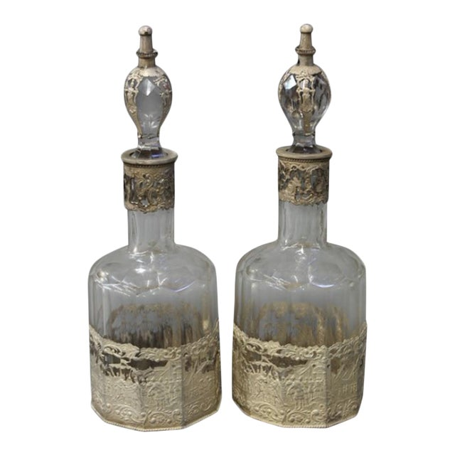 Continental Crystal Decanters - A Pair - Image 1 of 4