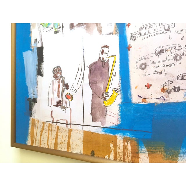 """Metal Jean Michel Basquiat Rare Vintage 1997 Framed Lithograph Fine Art Print """" Worthy Constituents """" 1986 For Sale - Image 7 of 13"""