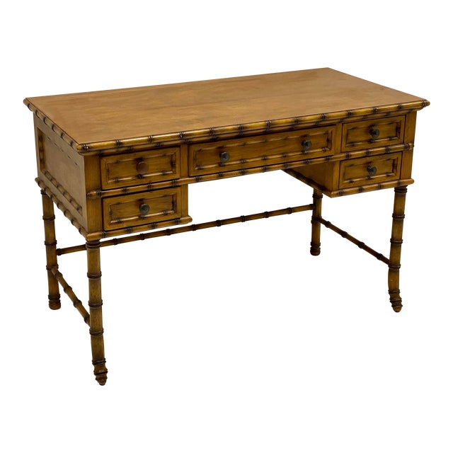 French Style Faux Bamboo Desk by Pulaski For Sale