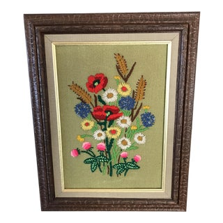 1960's Framed Crewel Vibrant Flowers Embroidery