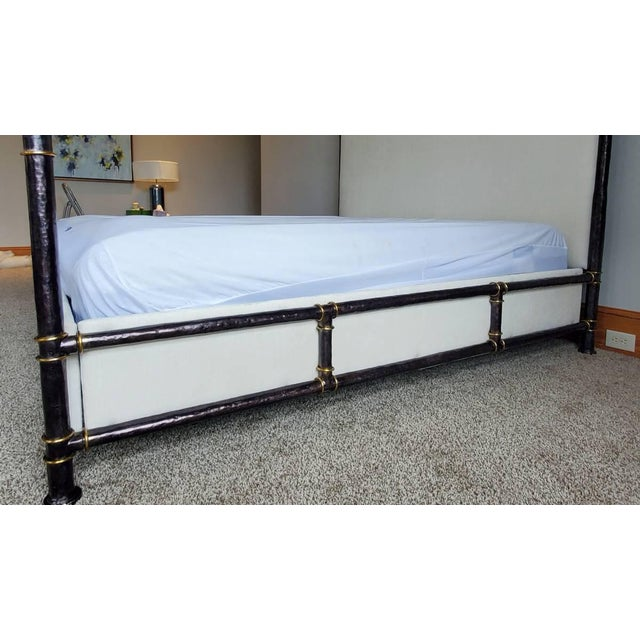 Henredon Furniture Jeffrey Bilhuber Hammered Metal Bank St Queen Canopy Bed For Sale In Charlotte - Image 6 of 13