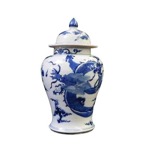 Blue & White Dragon Graphic Porcelain General Jar For Sale