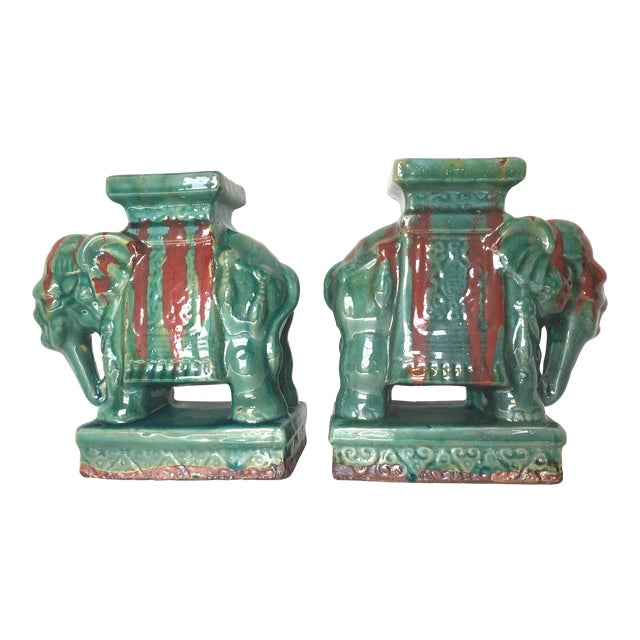 Drip Glaze Ceramic Elephant Statues - A Pair - Image 1 of 6