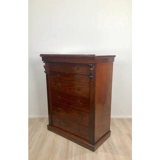 English Traditional Wellington Secretary Chest of Drawers, England Circa 1840 For Sale - Image 3 of 11