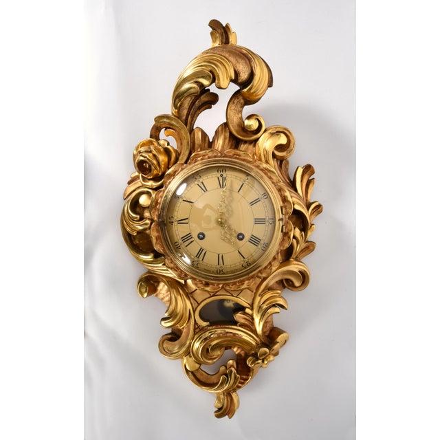 Gold Vintage Swedish Gilt Wood Framed Wall Cartel Clock For Sale - Image 8 of 8