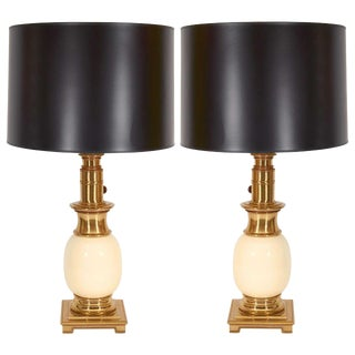 Pair of Stiffel Brass and Ceramic Table Lamps For Sale