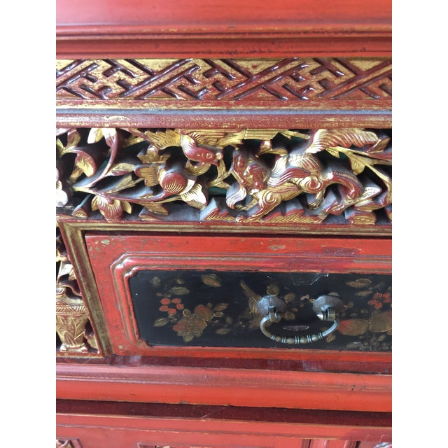 Antique Carved Asian Red Lacquer Cabinet For Sale - Image 4 of 11
