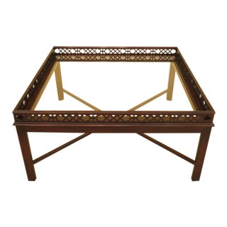 Square Mahogany Chippendale Coffee Table with Glass Top For Sale