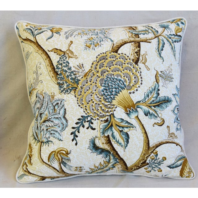 """French Jacobean Floral Cotton & Linen Feather/Down Pillows 24"""" Square - Pair For Sale - Image 4 of 13"""
