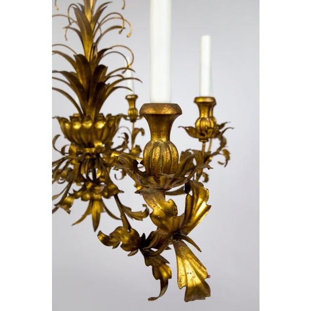 Mid 20th Century Gilt Palm Leaf Regency Chandeliers (2 Available) For Sale - Image 5 of 13