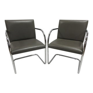 Mies Van Der Rohe Brno Guest Chair in Brown - a Pair For Sale