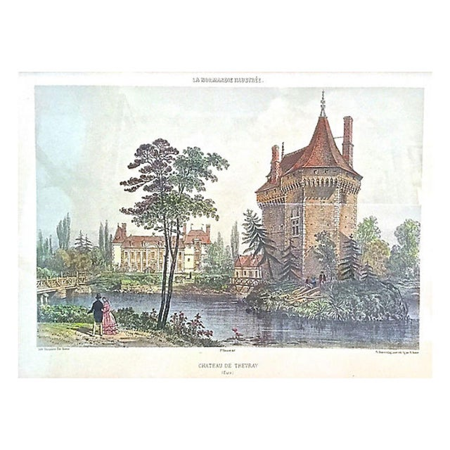 """Antique Normandy chateau engraving displayed in a vintage giltwood frame. Double matted. Marked """"La Normandie Illustrée,..."""