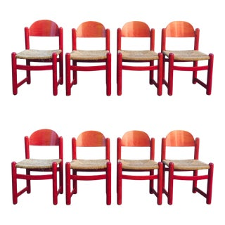 Hank Lowenstein Rush Seat Dining Chairs Made in Italy- Set of 8 For Sale