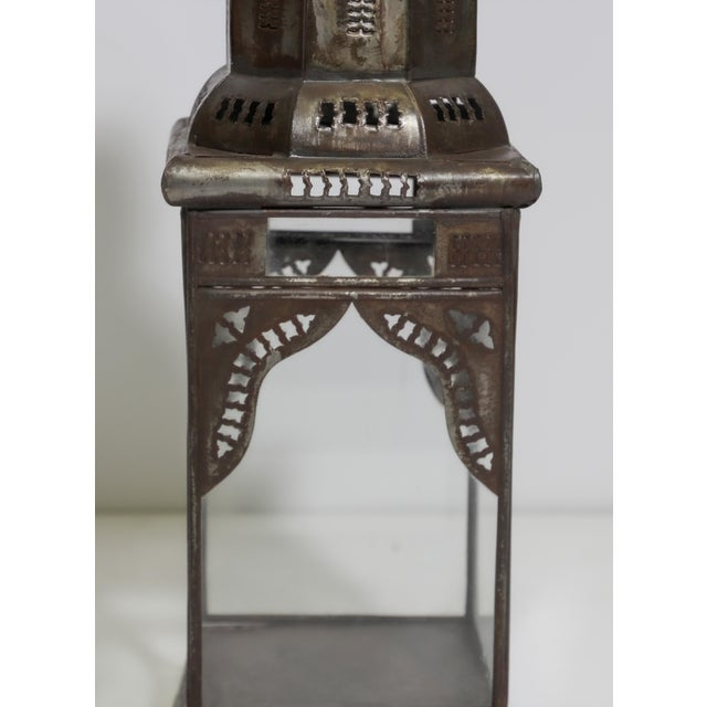 Moroccan Moorish Square Metal and Clear Glass Candle Lantern For Sale - Image 11 of 13