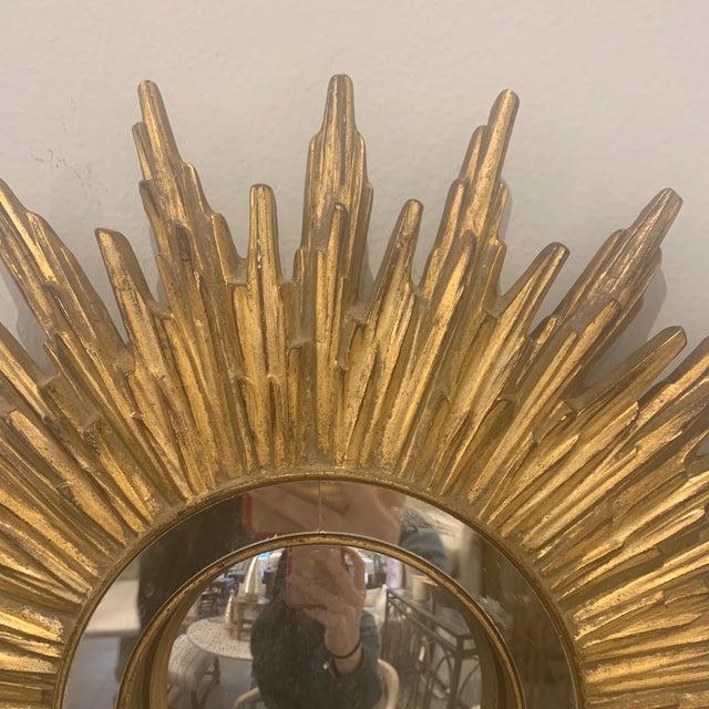 Hollywood Regency Gilded Sunburst Mirror For Sale - Image 11 of 13