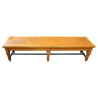 Bench From Parisian Bank, 1900s, Carved Legs and Oak Top With Steel Bar Supports For Sale