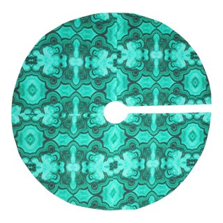 Tony Duquette Style Malachite Green Geode Gemstone Christmas Tree Skirt For Sale