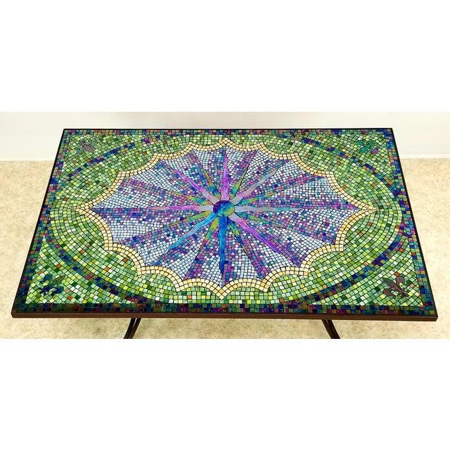 Boho Chic Mosaic Fleur-De-Lis Sunburst Tile Top Table For Sale - Image 10 of 13