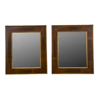 Antique Italian Colored Inlay Frame Mirrors - A Pair