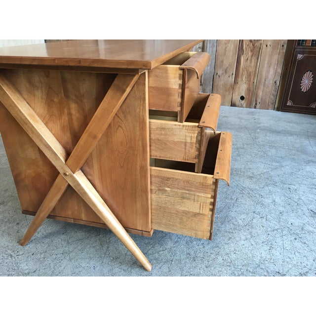 Wood 1950's Maple X-Leg Desk With Bookcase For Sale - Image 7 of 13