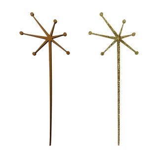 Solid Gold Mid-Century Starburst Drink Stirrers- 6 For Sale