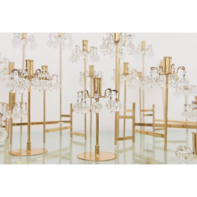 Metal J. & L. Lobmeyr Brass and Swarovski Crystal Candlesticks - 15 Piece For Sale - Image 7 of 11