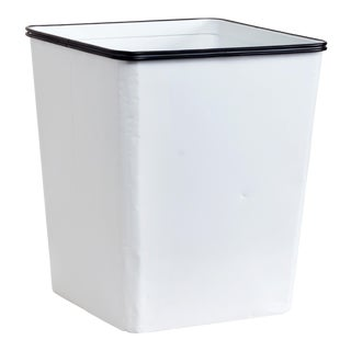 1940s Erie Art Metal Steel Trash Can Refinished in Gloss White
