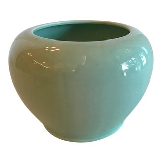 Mid-Century Modern Mint Green Ceramic Planter For Sale