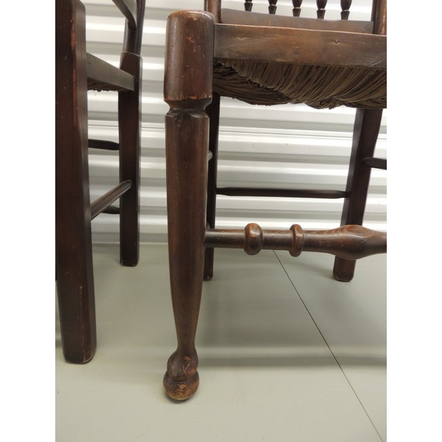 Pair of Antique English Country Harlequin Wood Chairs with Rush Seats For Sale In Miami - Image 6 of 6
