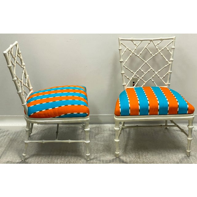 This is a pair of 1960s cast aluminum faux bamboo chairs by Kessler for Phyllis Morris out of Beverly Hills. They are in...