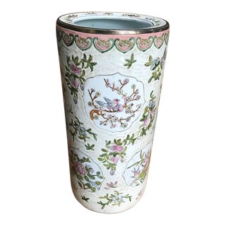 Chinoiserie Pink Umbrella Stand For Sale