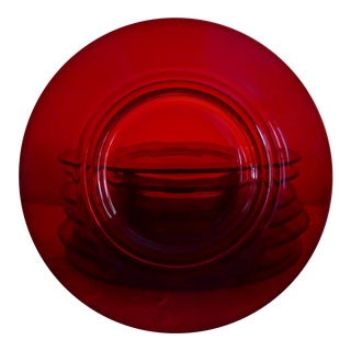 Mid-Century Modern Red Glass Dessert Plates - Set of 8
