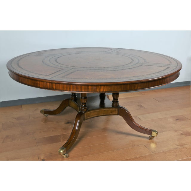Large Maitland Smith Round Dining Table For Sale - Image 11 of 13