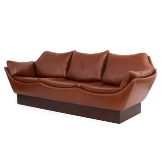 Sculptural Danish Leather & Down Sofa Preview
