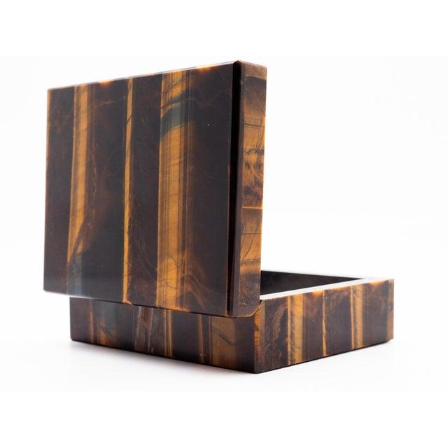 Contemporary Tiger's Eye Semi-Precious Stone Box For Sale - Image 3 of 8