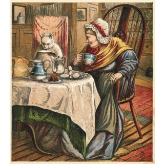 Victorian Children's Print - Dame Trot & Her Cat, 1880 For Sale