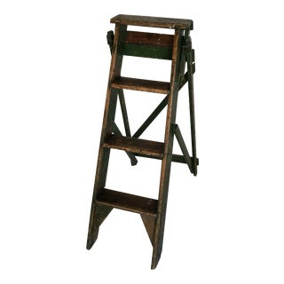 Antique 1920s French O. E. Jones Green Folding Library Step Ladder For Sale