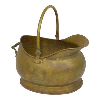 Primitive 1800's Brass Coal Scuttle For Sale