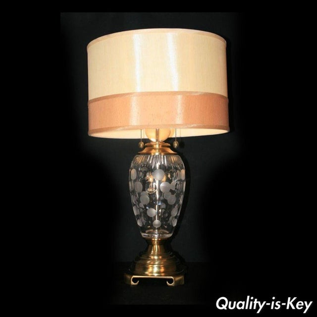 Dale Tiffany Etched Crystal Glass & Brass Table Desk Lamp With Shade Decorator For Sale - Image 11 of 11