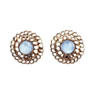 1950s Signed Reja Faux-Blue Moonstone Earrings For Sale