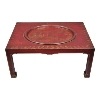 Vintage Red Chinoiserie Oriental Coffee Table With Tray For Sale